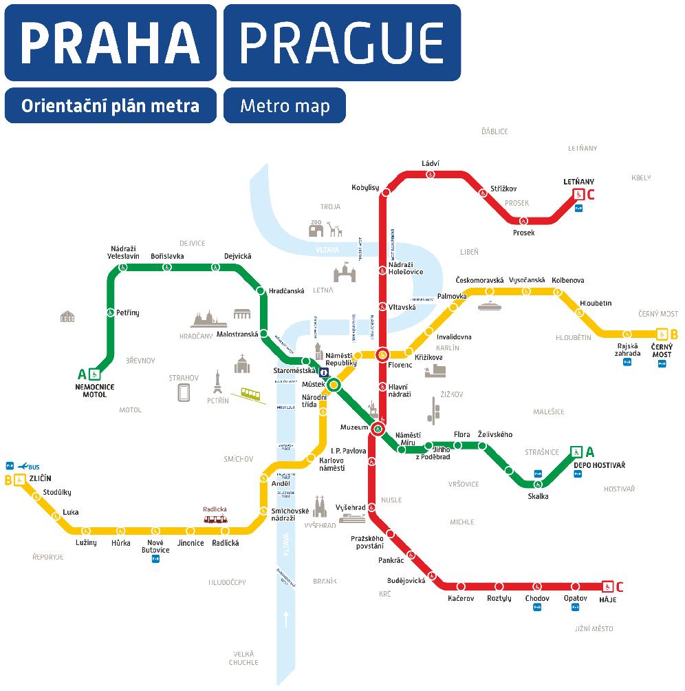 Orientační plán metra - Praha
